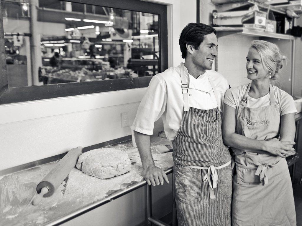 Lauren and Adam in the Panbury's kitchen