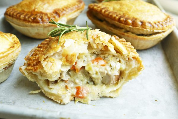 Photo of a Panmbury's Country Chicken pie on a baking tray